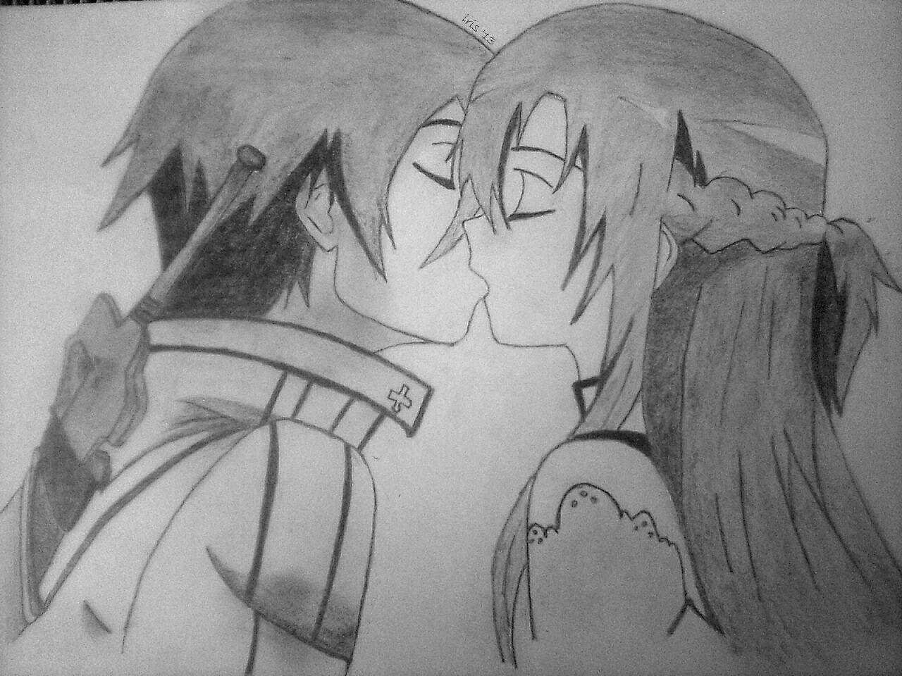 Anime manga sao kirito asuna love drawing cute pencil