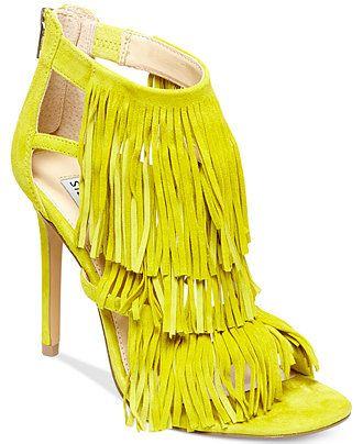 Steve Madden Women's Fringly Dress Sandals - Neon Yellow Fringe