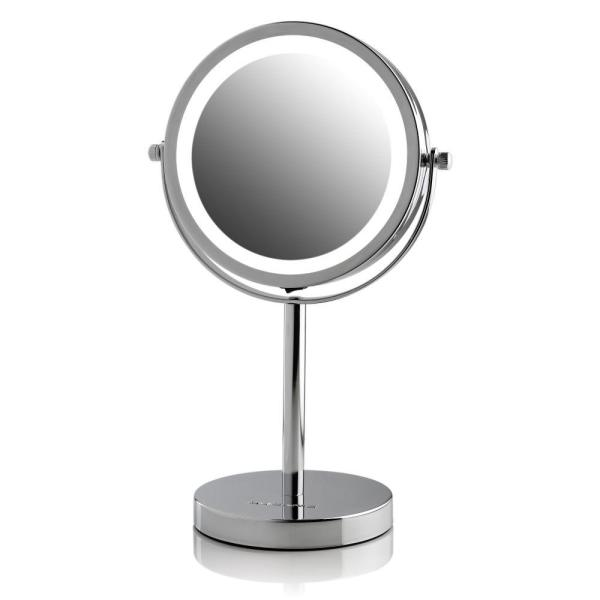 Led Lighted Tabletop Mirror Cordless Battery Operated Led Lights Polished Chrome With 1x Or 7x Magnification In 2020 Mirror Polished Chrome Battery Operated Led Lights