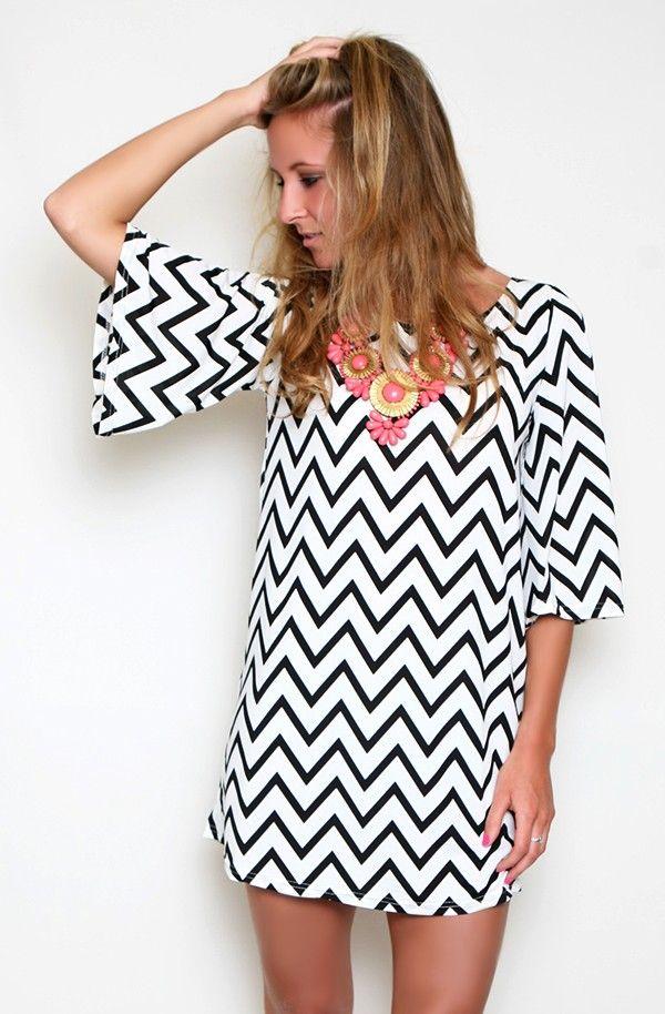 Black & white Chevron Dress + pink statement necklace
