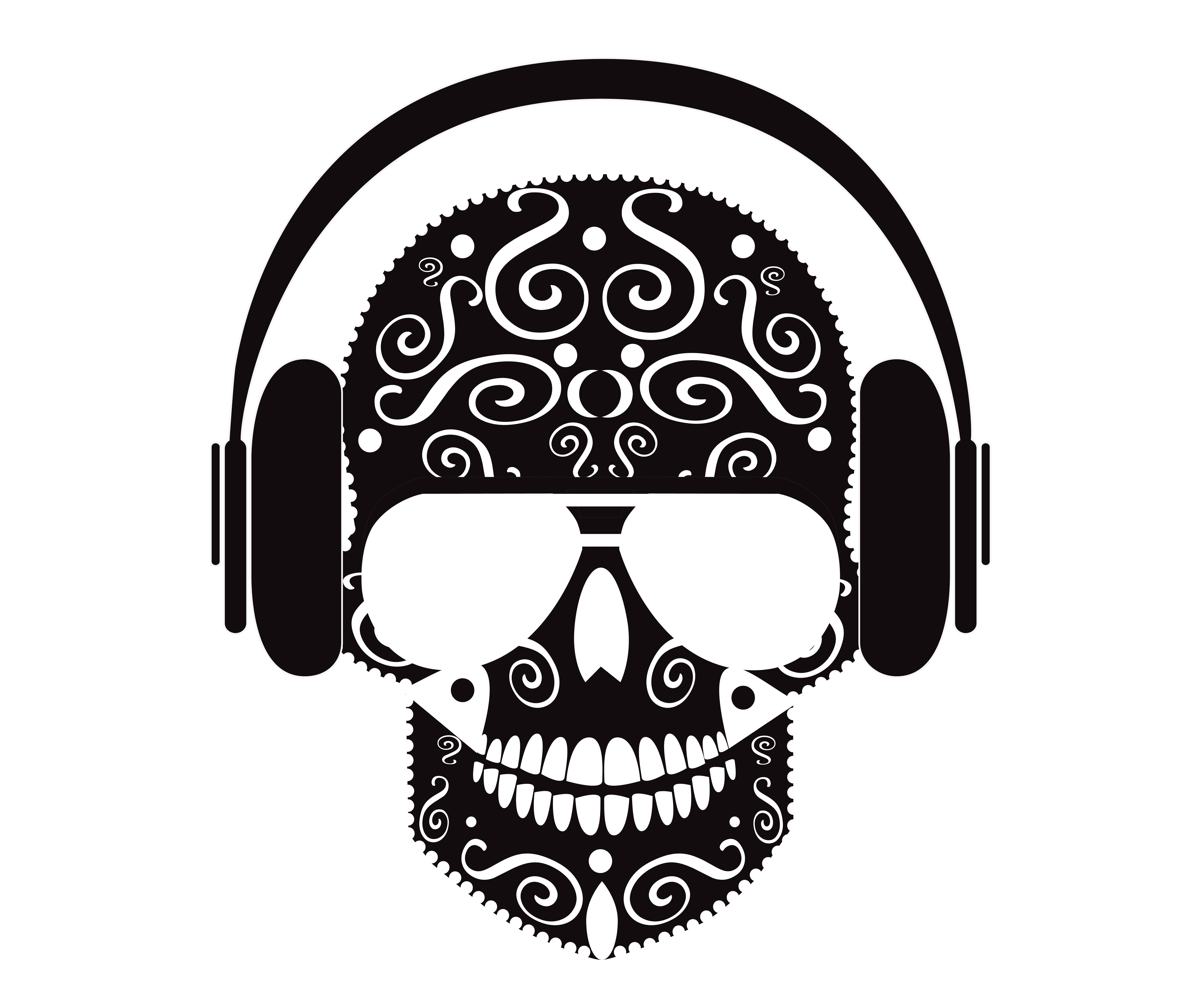 skull with headphones vector black by teagraphicdesign on
