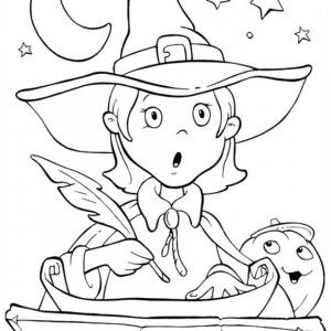 Funschool Halloween Cute Little Witch Is Surprised In Coloring Page