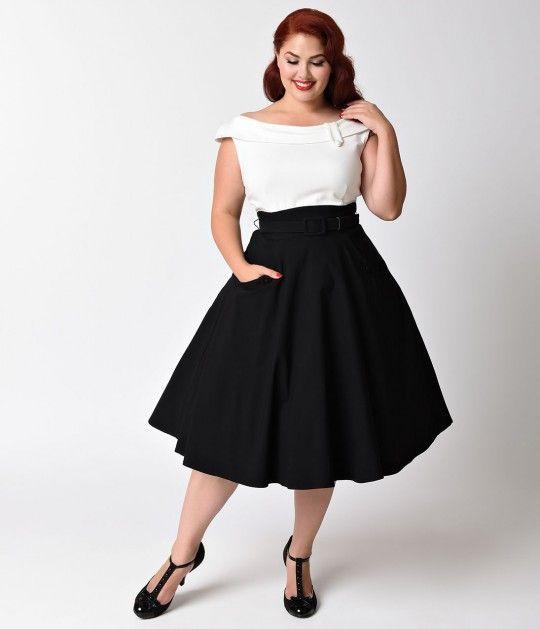 Unique Vintage Plus Size 1950s Black & White Colorblock Tippi Swing