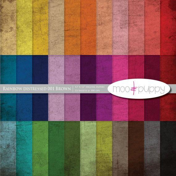 Distressed Digital Paper -- Rainbow Distressed Texture 001 Brown - moo digital