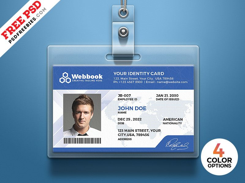 Free Id Card Template Psd Set Employee Id Card Id Card Template Card Templates Free