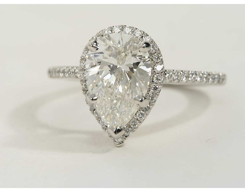 Pear Shaped Halo Diamond Engagement Ring in Platinum Halo Pears