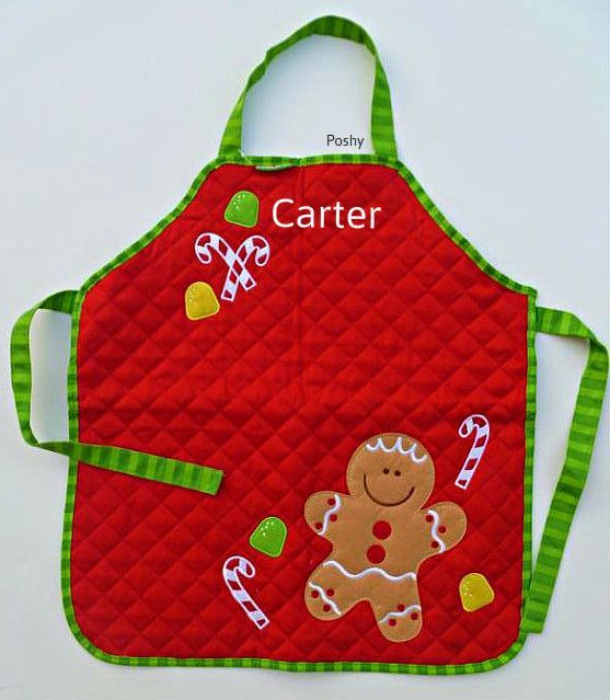 Children Christmas Aprons Personalizd Kids Christmas Holiday Apron In Gingerbread Man Bec