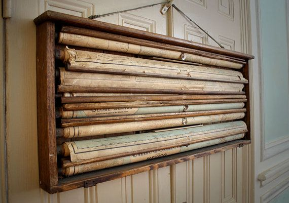 Bought an oak map holder like this. So cool and will look great as part of rustic industrial decor.