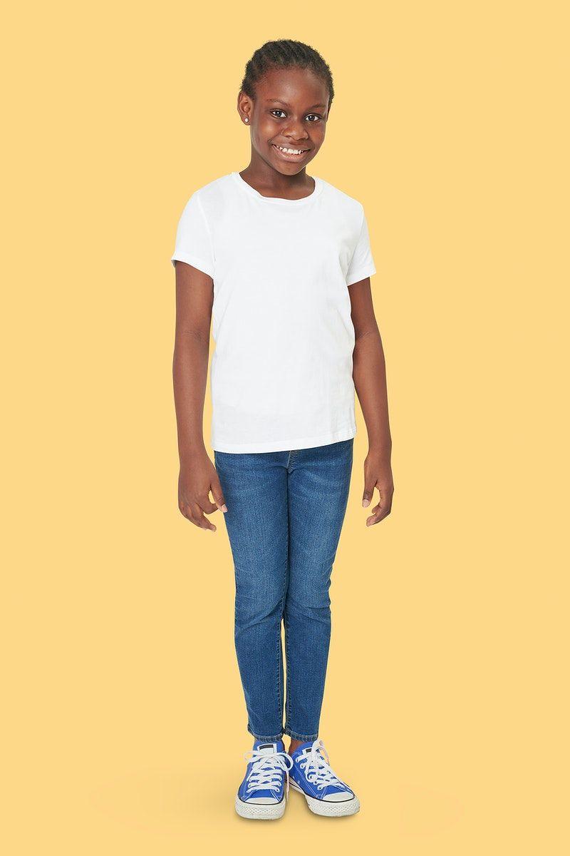 Download Download Premium Illustration Of Black Girl Psd White T Shirt Mockup Full Clothing Mockup Shirt Mockup Kids Outfits