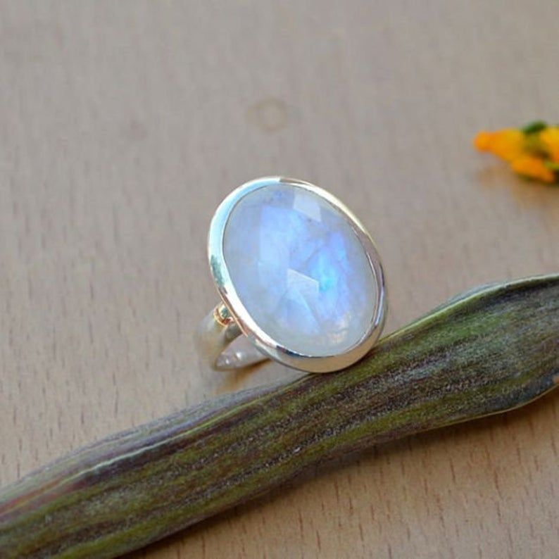 Gift for her Blue Fire Moonstone Ring Anniversary Ring Promise Ring 925 Sterling Silver Natural Rainbow Moonstone Ring Handmade Ring