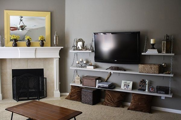 Wall Mounted TV With Shelves Around And Below #livingroom
