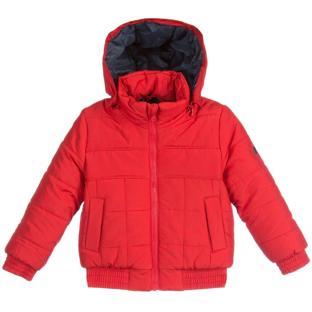 Boys Red Hooded Puffer Jacket, BOSS, Boy | #JACKETS #COATS ...
