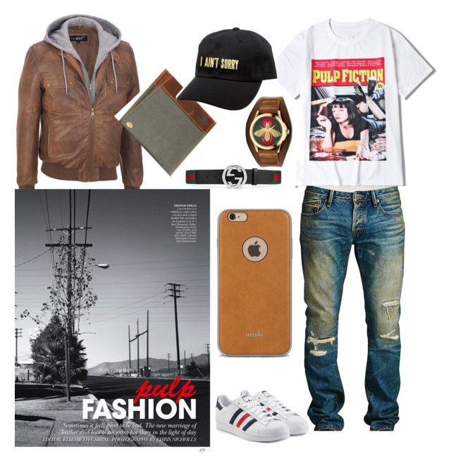 """Pulp fashion"" by brandi-hughes on Polyvore featuring Cult of Individuality, adidas Originals, Gucci, DamnDog, Moshi, KLP, men's fashion and menswear"