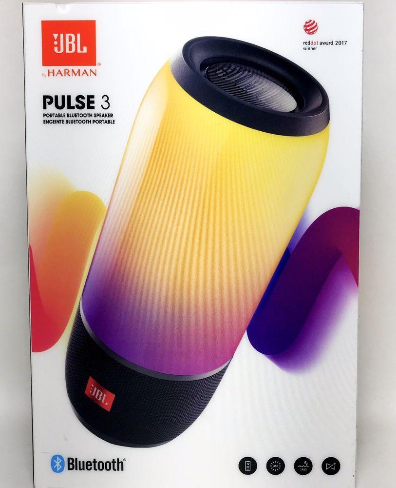 JBL Pulse 3 Portable Bluetooth Speaker Black Lights up JBLPULSE3BLK