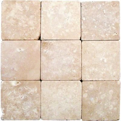 Ms International Durango 4 In X 4 In Tumbled Travertine Floor And Wall Tile 1 Sq Ft Case Travertine Floors Travertine Mosaic Tiles Tiles