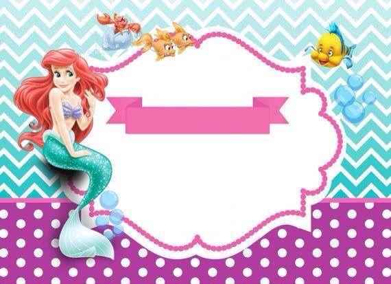 Invitación La Sirenita Cumpleaños De Sirena Invitaciones