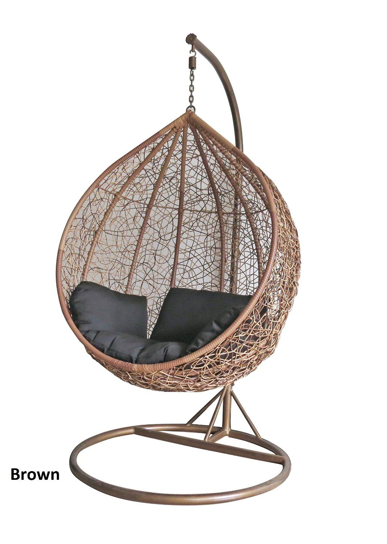 Brown Colour Rattan Swing Chair Outdoor Garden Patio Hanging Wicker ...