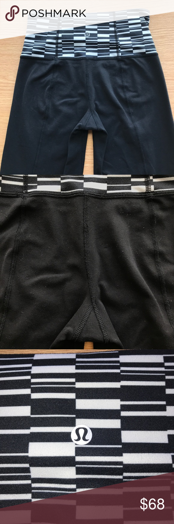 5e3679e1a Lululemon Groove Pant III Tall (Full-on Luon) Minor pilling on the back but  in amazing condition! - plain black with white and black geometric  waistband ...