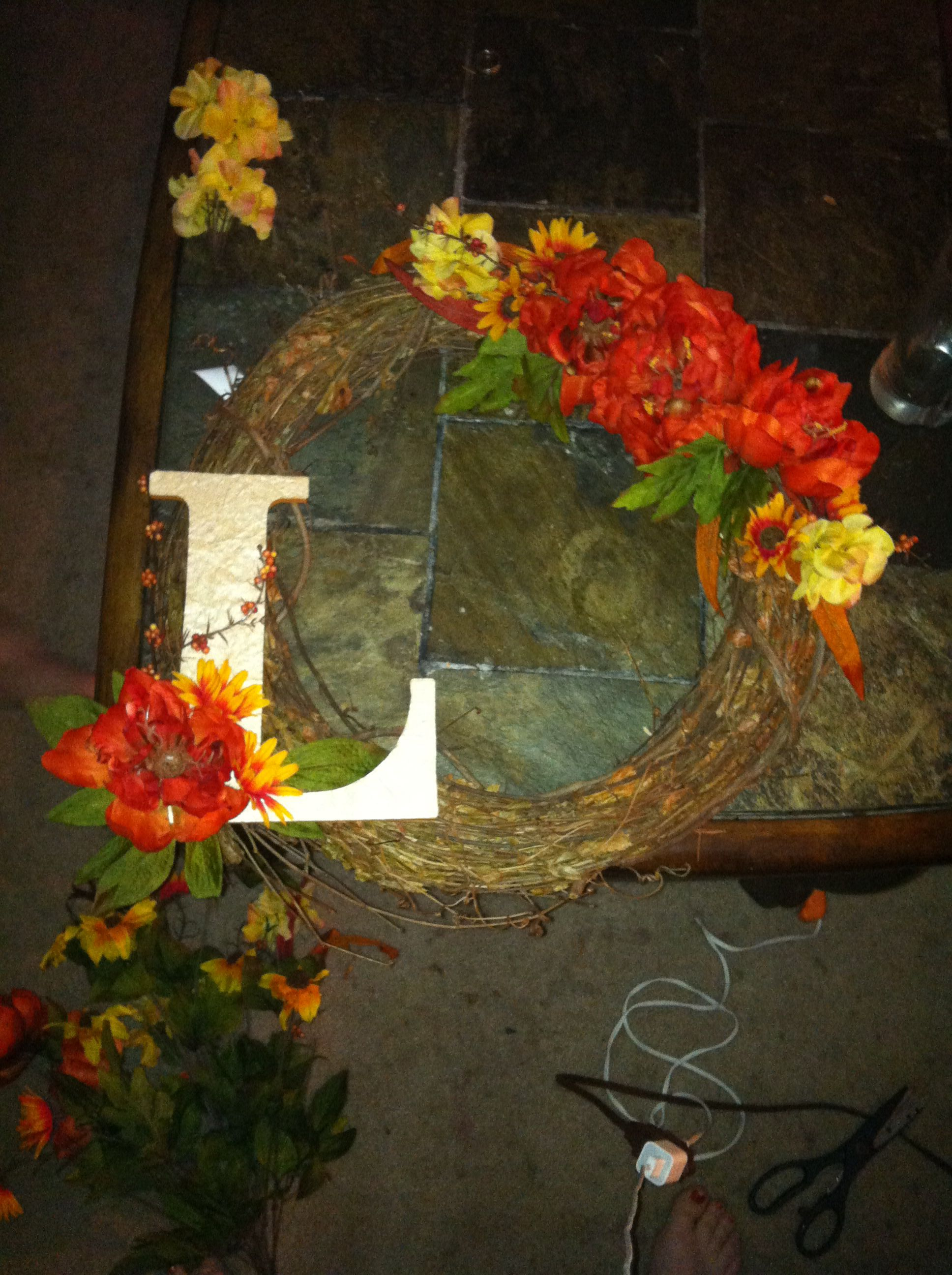 Fall Wreath With Letter L