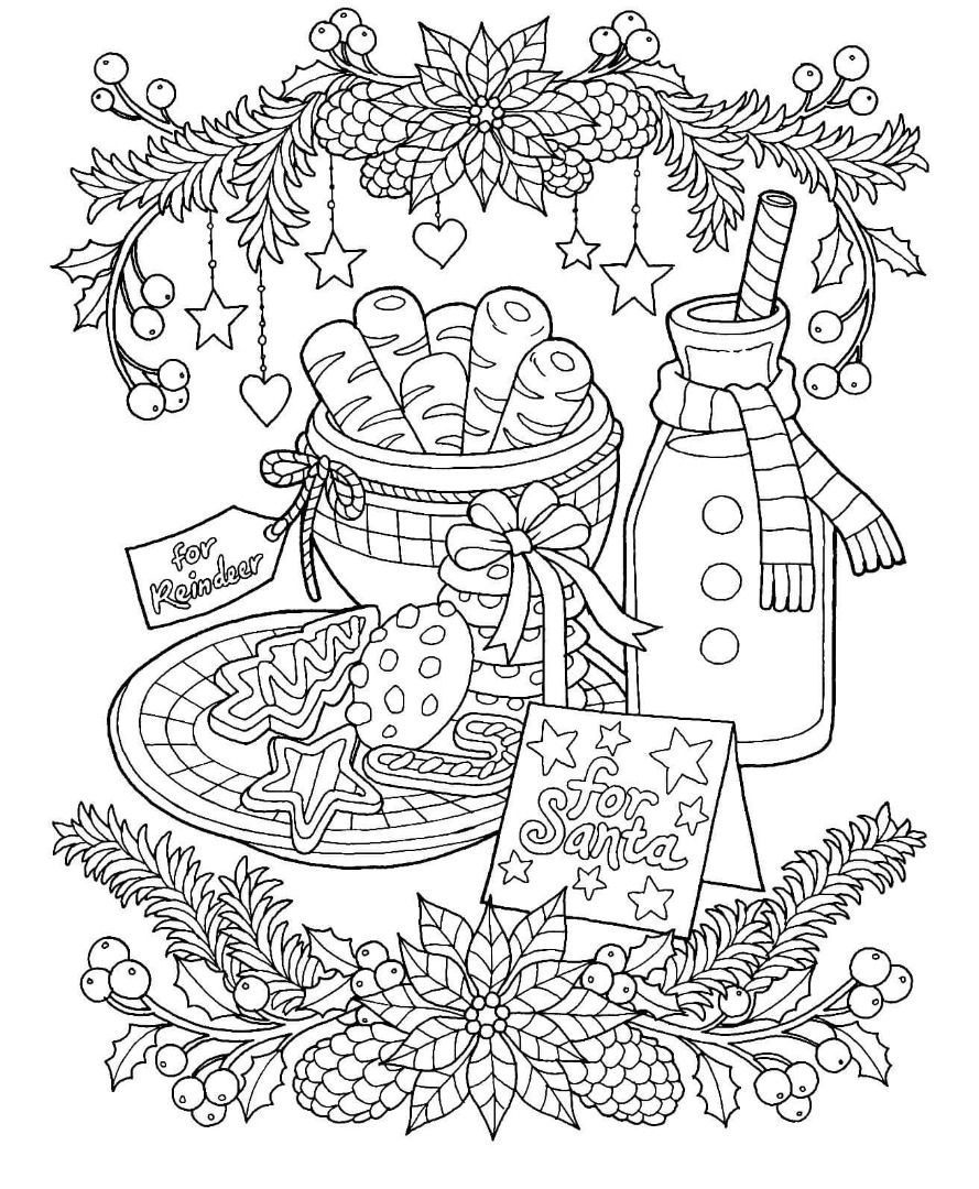 Christmas Milk And Cookies Coloring Page Printable Christmas