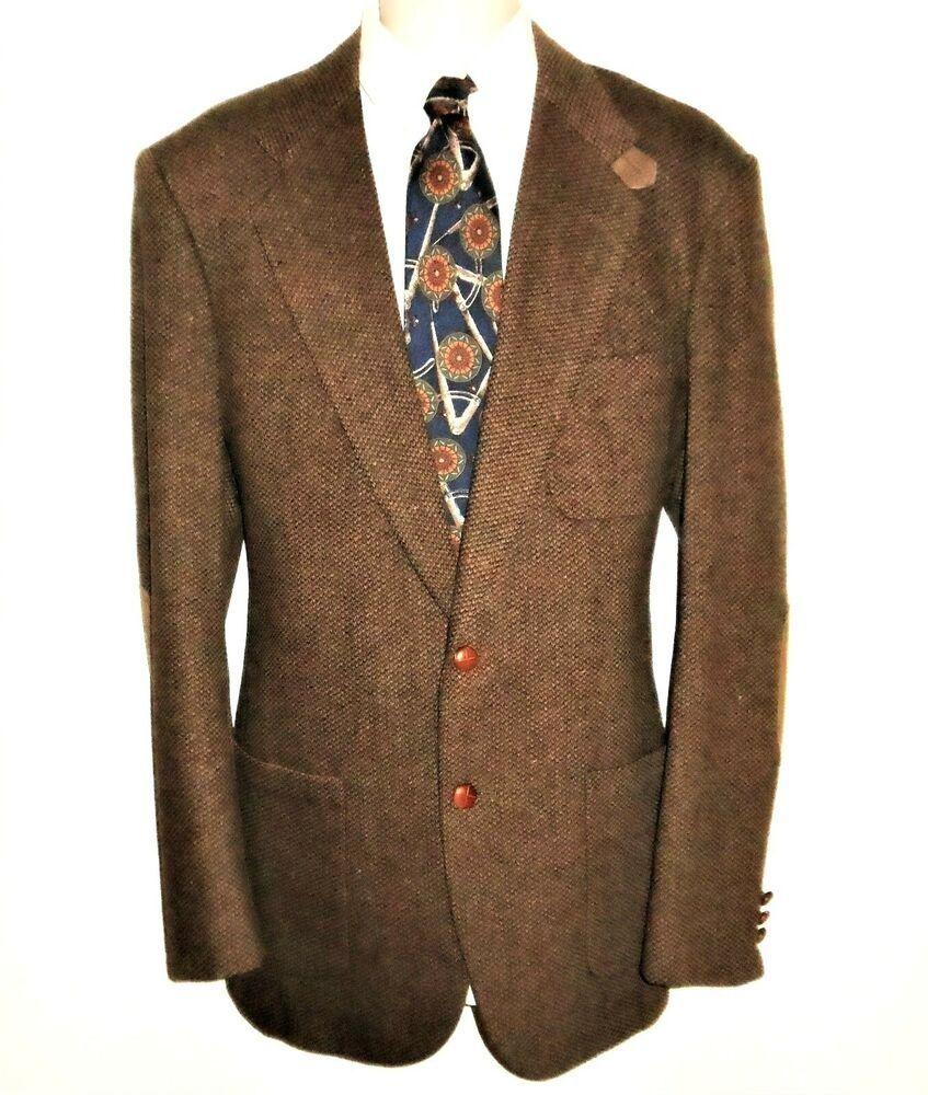 Tweed Wool Blazer Sport Coat 40 XL Suede Elbow Patches