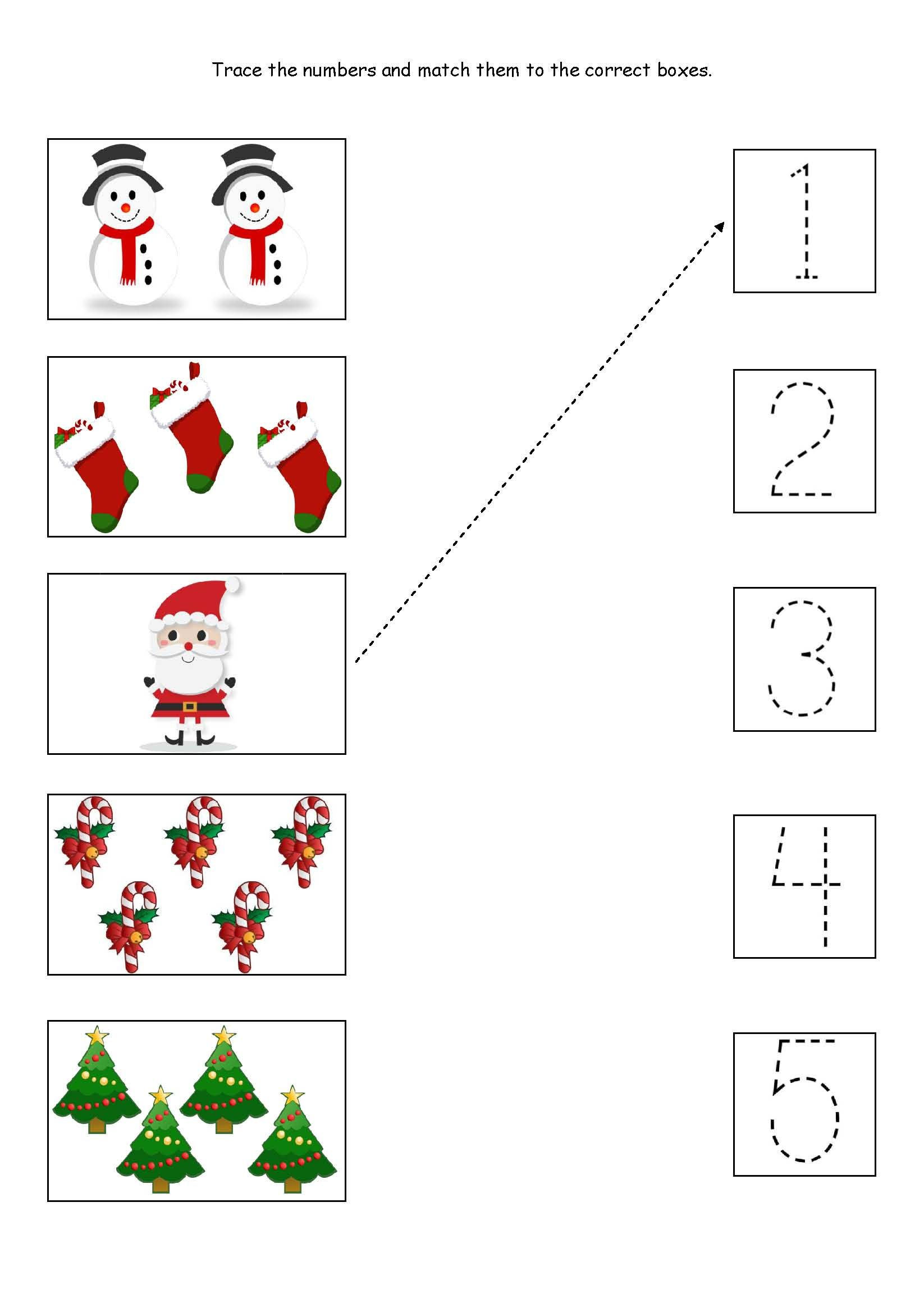 Cute little Christmas counting, matching and tracing worksheet ...