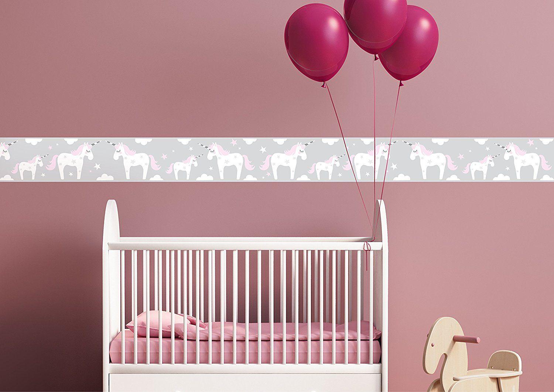 Bordüre Babyzimmer ~ 🦄 unicorn einhorn bordüre für die kinderzimmer wand