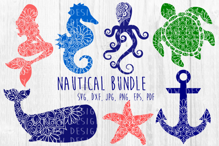 Nautical Mandala Bundle Whale Mermaid Turtle Starfish Mandala Turtle Mandala Mermaid Svg