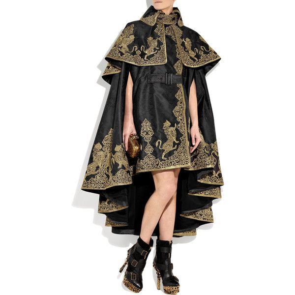 Alexander McQueen Embroidered silk-jacquard cape ($45,120) found on Polyvore