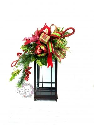 Christmas Lantern Swag in Lime Green Red w Poinsettia