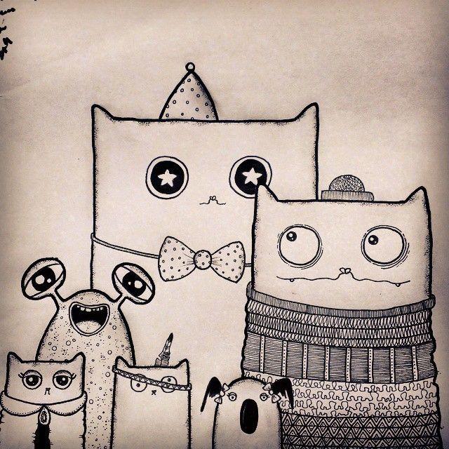 Hæppy Tuesdæy ^-^ #groupshot #illustration #drawing #ink #fineliner #copics #blackink #blackandwhite #bw #monochrome #pattern #cats #sketch #catsofinstagram #instacats #koala #monster #charactercrew #character #doodleday #senftenbørg #rabeasenftenberg
