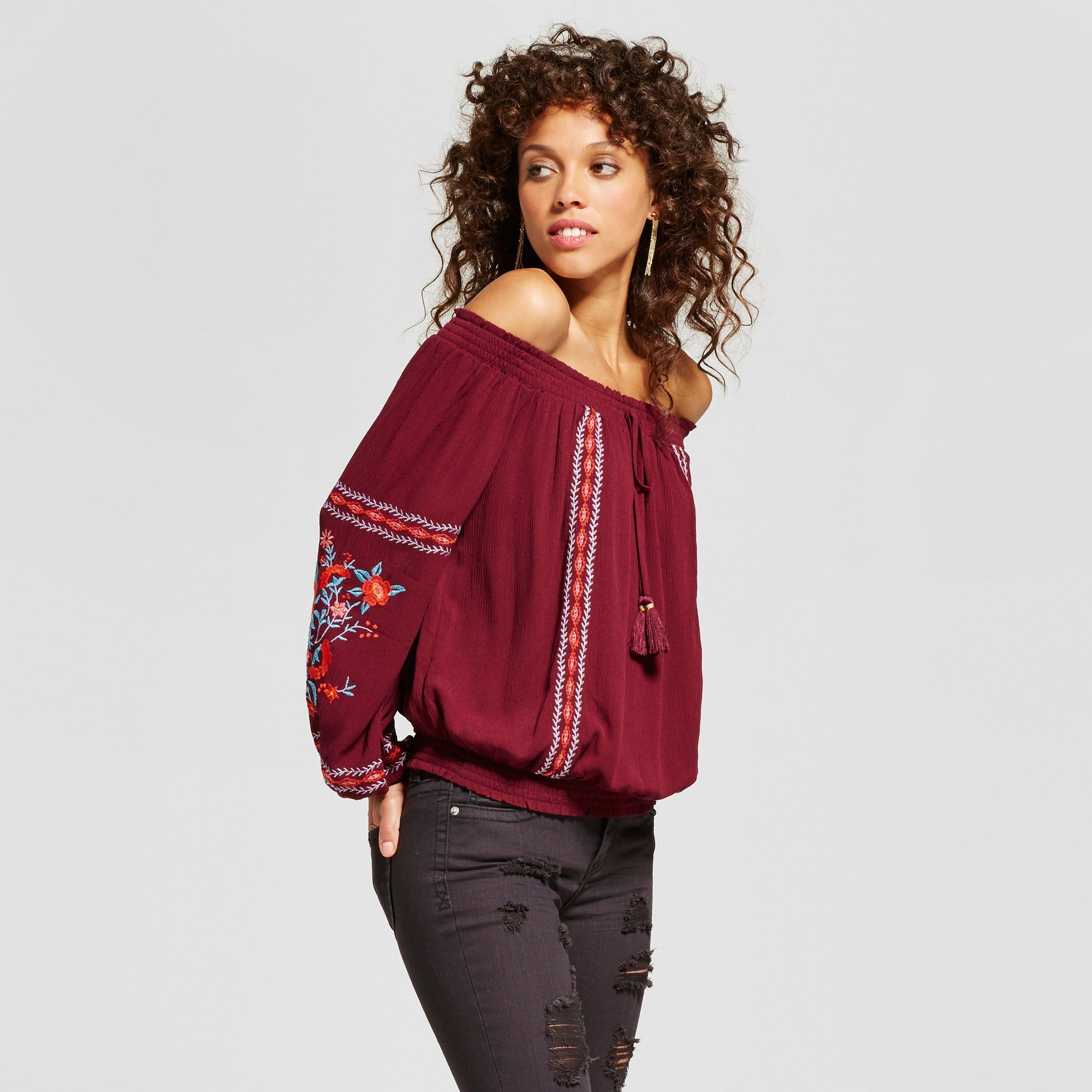 e22f7555b7d Women s Embroidered Smocked Off the Shoulder Top - Xhilaration (Juniors )  Berry (Pink) Xxl
