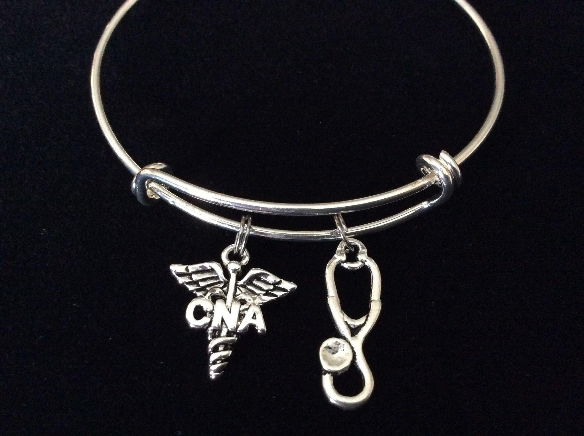 CNA Certified Nurse Assistant Silver Charm Bangle Bracelet