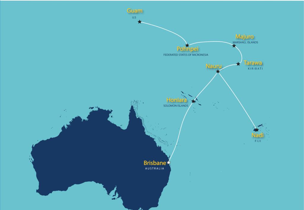 Nauru Airlines flight map | Pacific Island Hopping | Tarawa ... on kiribati map, tuvalu map, united arab emirates map, el salvador map, marshall islands map, mayotte map, bangladesh map, sri lanka map, senegal map, cook islands map, gambia map, cayman islands map, burkina faso map, costa rica map, india map, papua new guinea map, congo map, saudi arabia map, greenland map, hungary map,