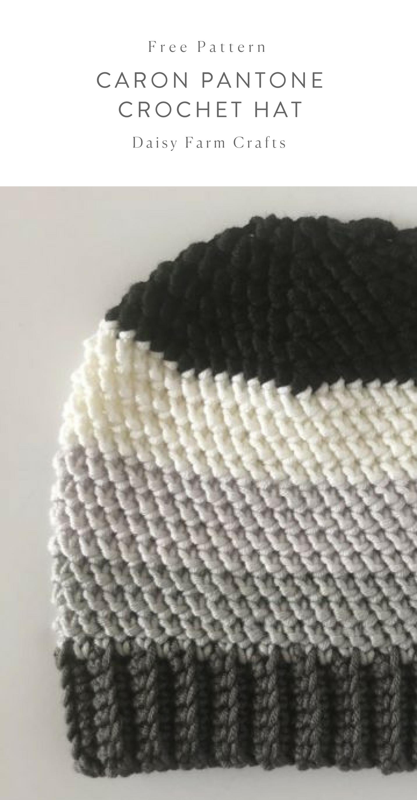 free pattern caron pantone crochet hat crochet - Hakelmutzen Muster