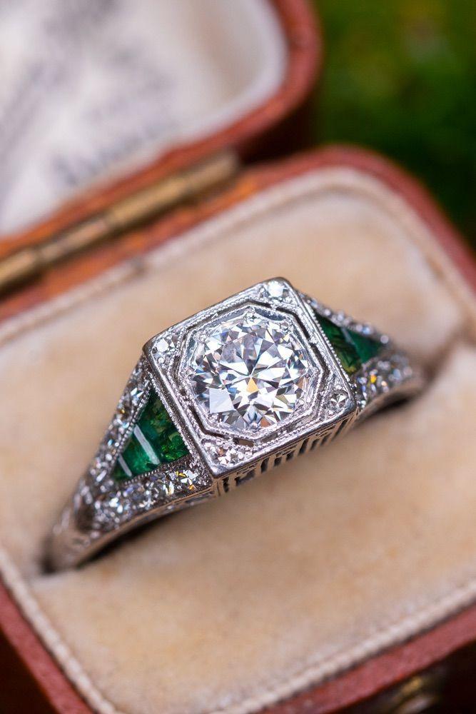 Photo of Art Deco Diamond Engagement Ring w/ Green Emerald Accents .58ct E/VS1