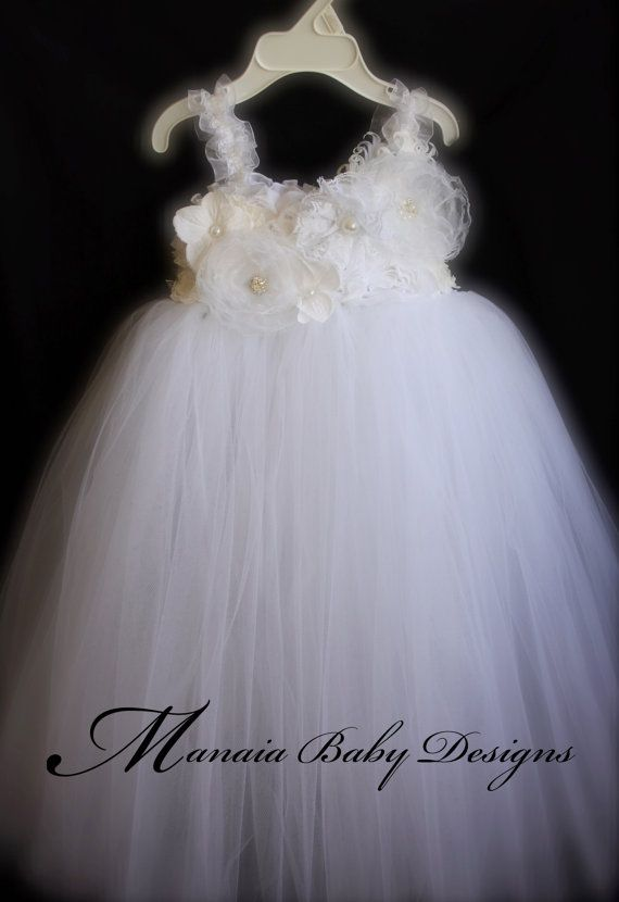 White Flower Girl Tutu Dress Baby By ManaiaBabyDesigns 8700