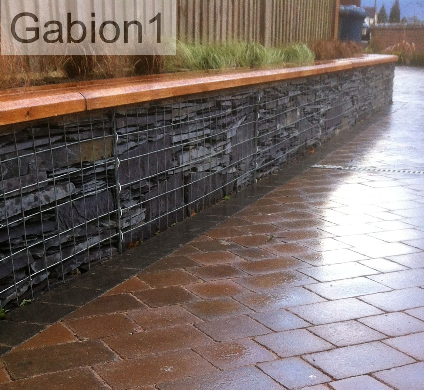 Timber capped gabion retaining wall httpwwwgabion1couk I