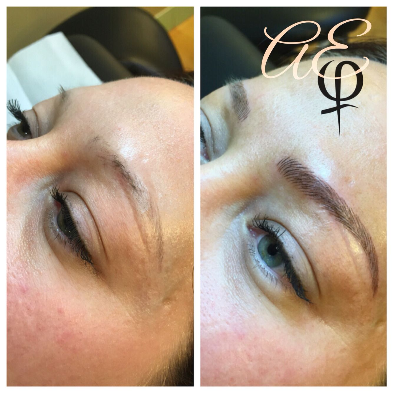 Before and after microblading by artist alana everett for Eyebrow tattoo microblading