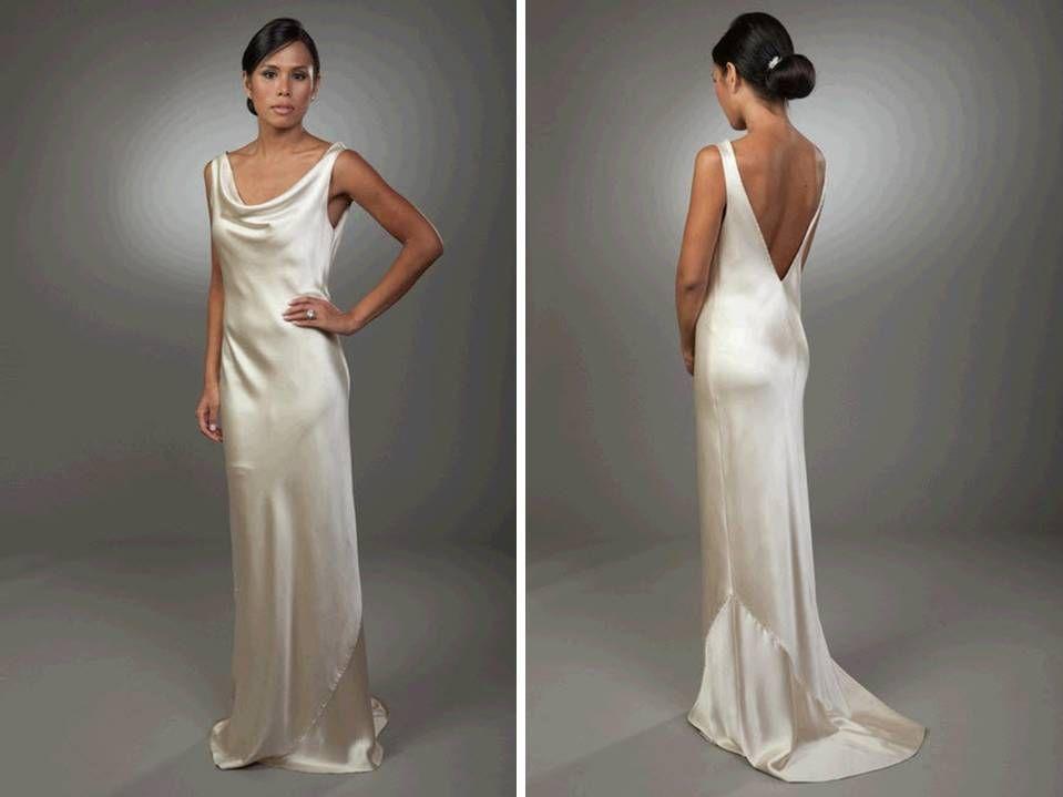 sleek column silk wedding dress with open v back onewed | Time to ...