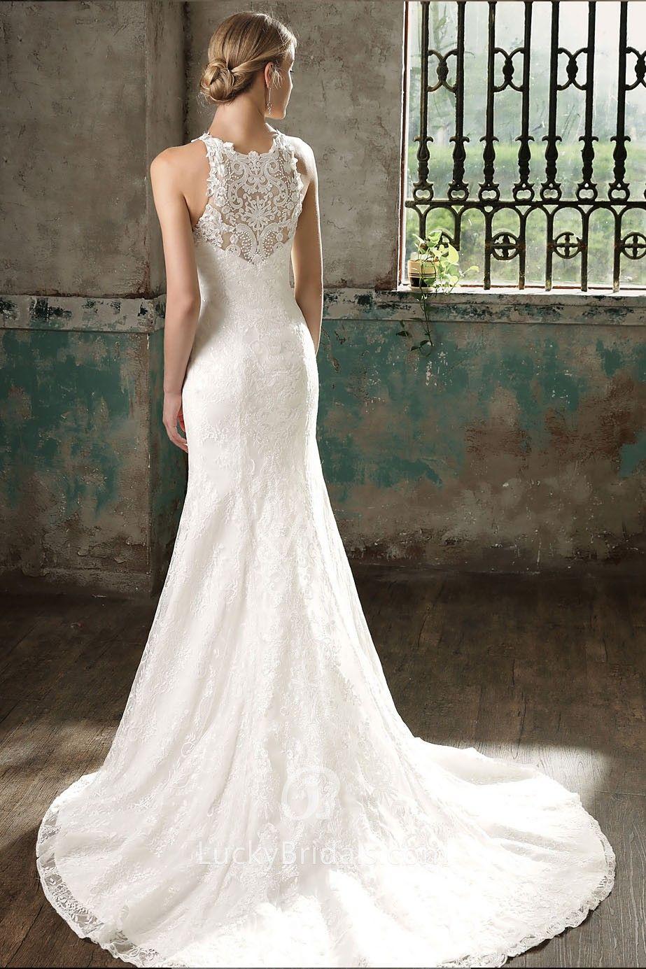 Unique Ivory Lace Halter Mermaid Long Wedding Dress Wedding Dress Train Chapel Train Wedding Dress Long Wedding Dresses [ 1385 x 923 Pixel ]