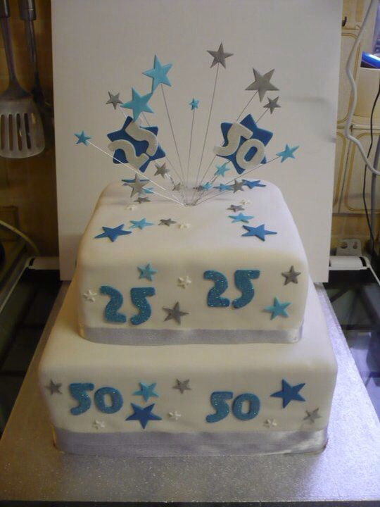 Blue and silver stars cake Birthday cake ideas Pinterest Star