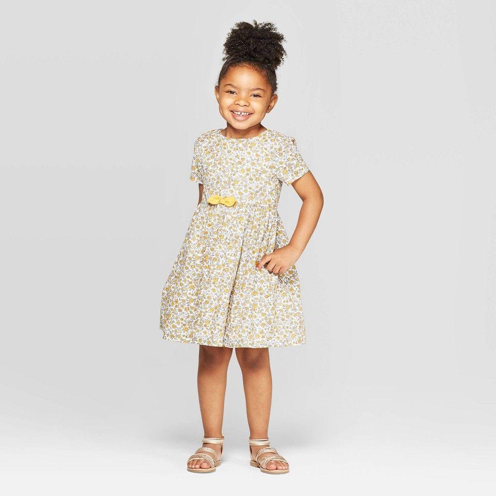 Petiteoshkosh B Gosh Toddler Girls Short Sleeve Floral A Line Dress Yellow 5t Toddler Girl S Update Her Summer Dressi Toddler Girl Yellow Dress A Line Dress [ 1000 x 1000 Pixel ]