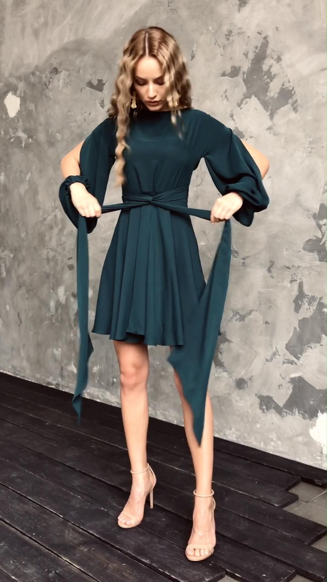 Elegant Wrap Dress LILLE, Green Casual Dress, Wrap-over Dress, Convertible Dress, Wedding Guest Dress, Dress ideas, evening dress long
