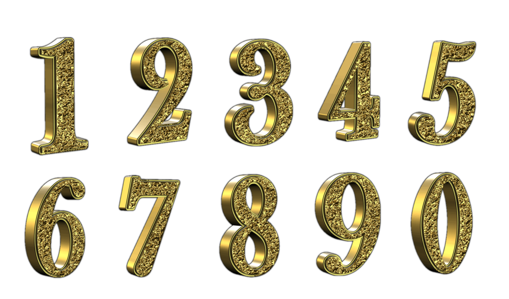 Golden 3d Numbers With Transparent Background By Placid85 On Deviantart Transparent Background Transparent Alphabet And Numbers