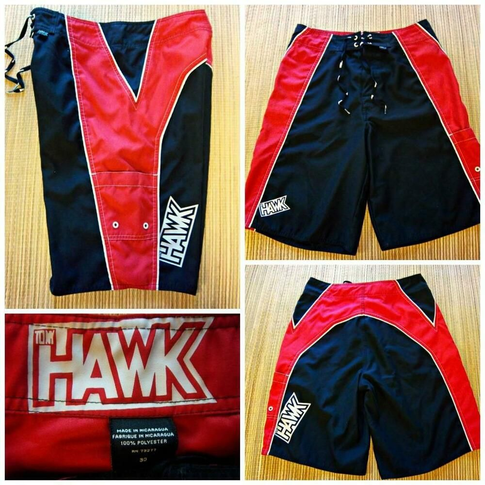 1547689884 TONY HAWK Men's Size 30 BOARD SHORTS SWIM TRUNKS - Black Red White #TonyHawk  #