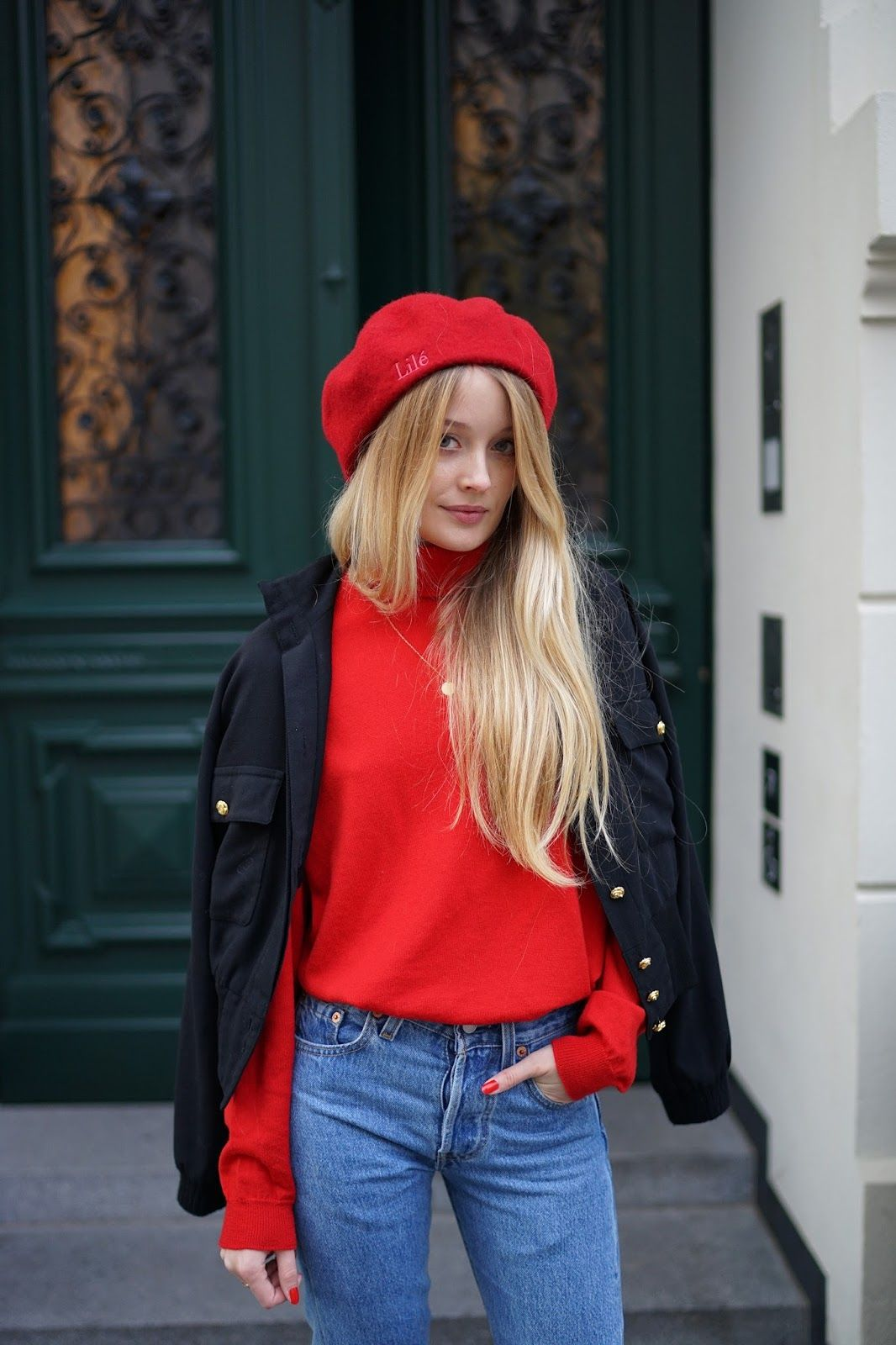 25048b2d0db Lilé Things Red Beret + Vintage Red Turtleneck + Levi s Jeans + Vintage  Leather Jacket + Paul Smith for Emma Hope Black Sock Booties via Patiness     Fashion ...