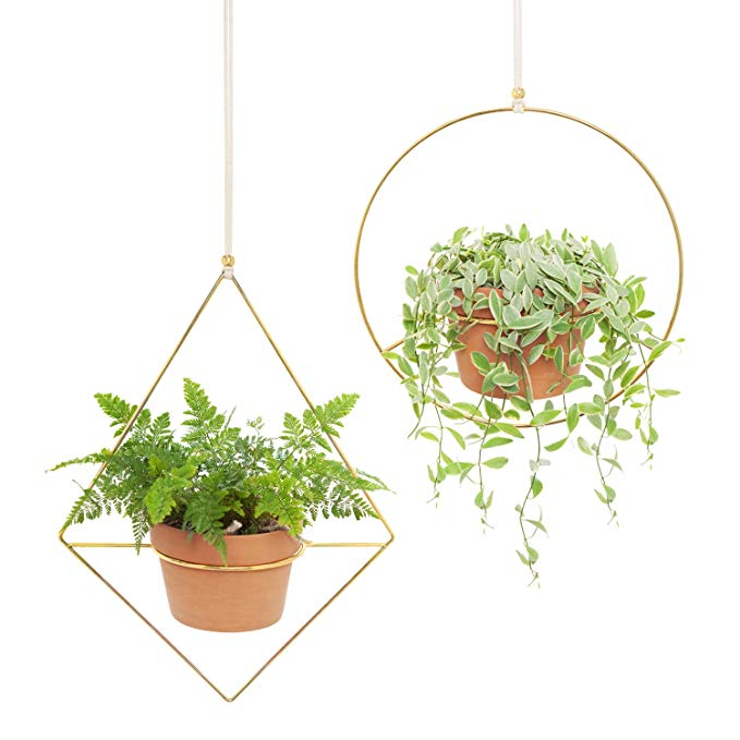 Amazon Com Mkono 2 Pcs Metal Round Hanging Planter Modern Plant Hangers Mid Century Flower Pot Hold Metal Plant Hangers Gold Flower Pot Metal Hanging Planters
