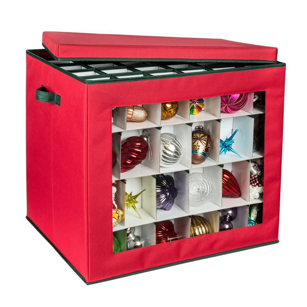 Honey Can Do Ornament Storage Container In Red 120 Count Sft 08362 The Home Depot Ornament Storage Holiday Storage Ornament Storage Box
