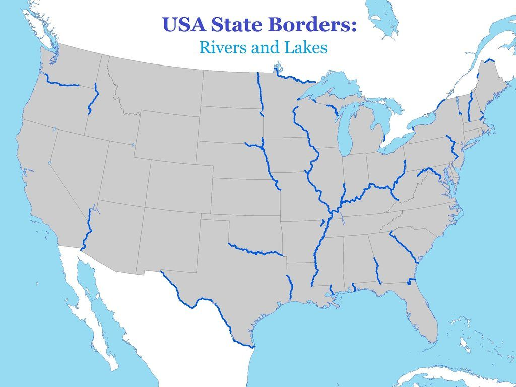 USA State Borders Rivers And Lakes On The Road Pinterest - Usa map rivers